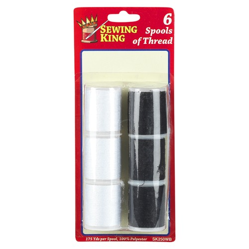 6 Large Threads Black/White