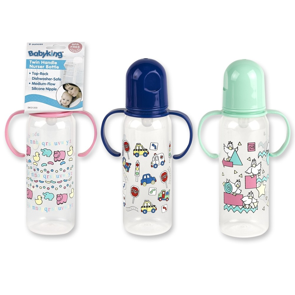 9 oz. Printed Handle Nurser Bottle BPA Free