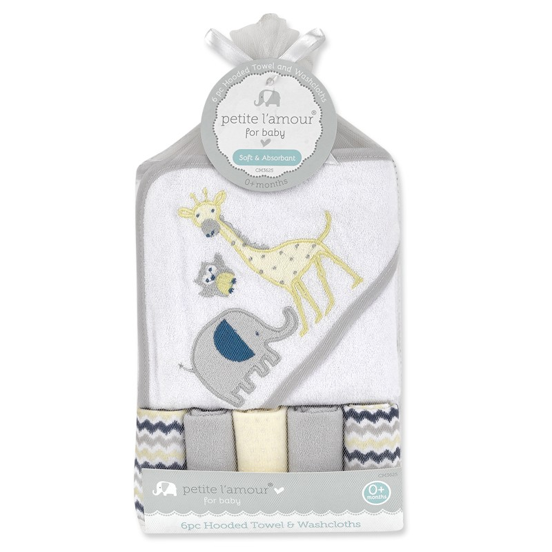 6 Piece Hooded Towel & Washcloths