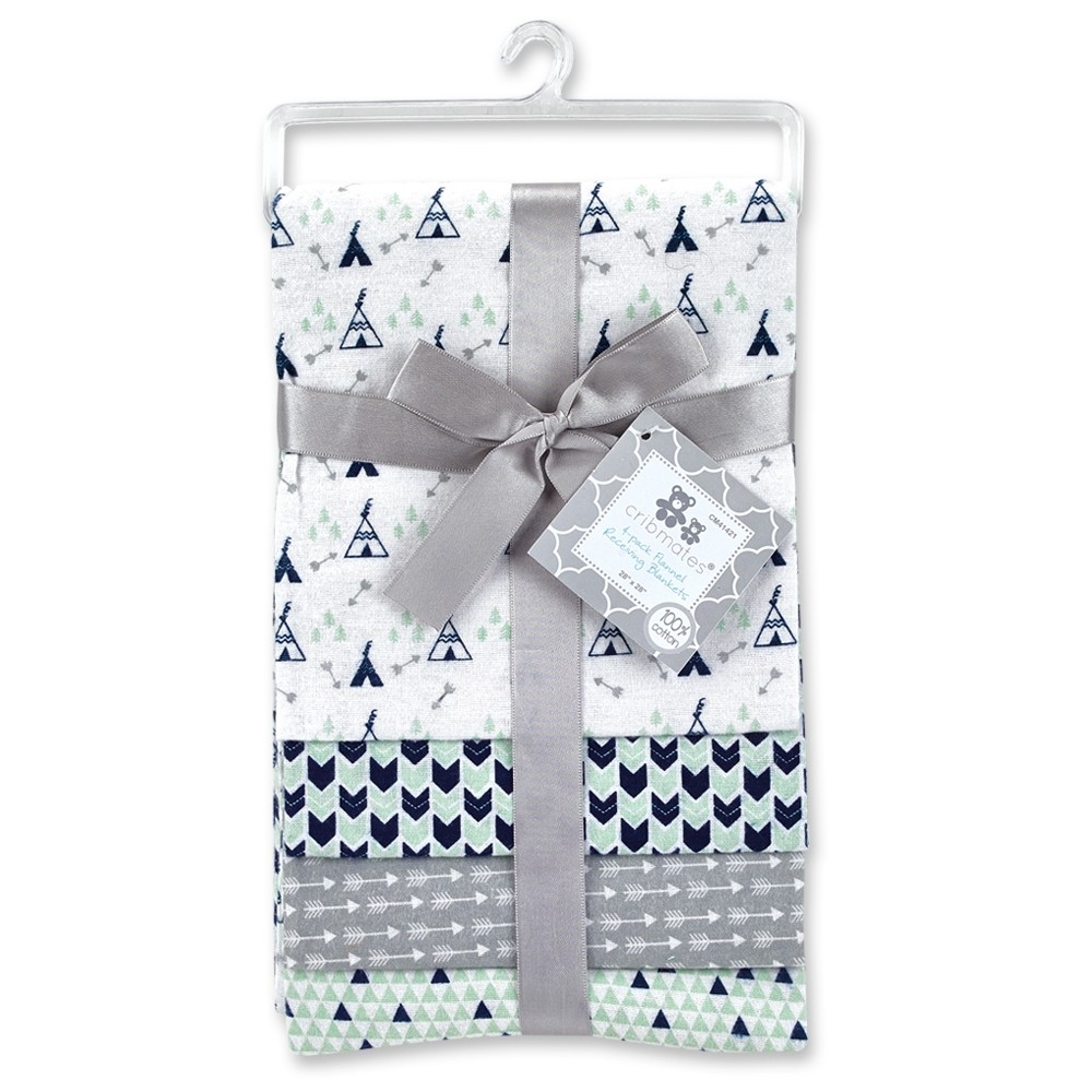"""4 pack Flannel Receiving Blankets (28""""x28"""")"""