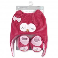 Pink Owl Hat and Booties Set