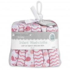 24 Pk Baby Washcloths Whales